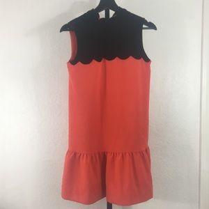 Victoria Beckham-Black & Orange Scallop Dress-Xs